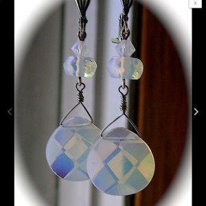 Fire Opal Swarovski Crystal Victorian Earrings